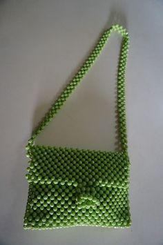 sac en perle  green beaded bag vintage annees 60 70 1960s 1970s 60s 70s