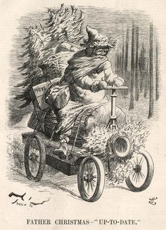 Illustration of Santa Claus riding motor car laden with toys Childrens Christmas, Father Christmas, Christmas Art, White Christmas, Christmas Punch, Christmas Projects, Christmas Stuff, Christmas Decorations, Vintage Christmas Images