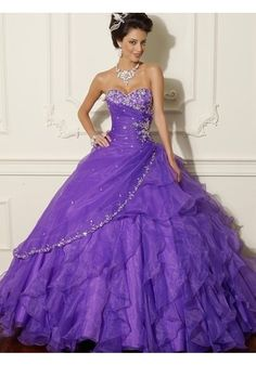Ball Gown Sweetheart Organza Regency Quinceanera Dress With Beading