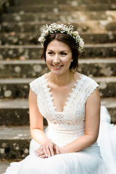 A Pretty Floral Crown for a Pronovias Bride's Victorian-Inspired Festival Wedding