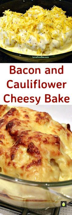 Oh my! Bacon Cauliflower Cheesy Bake. Great flavors all baked in a delicious cheese sauce, made from scratch and so good! This is easy enough as a  weeknight side or part of your Thanksgiving menu!