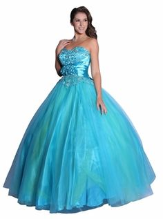 Turquoise Ballgown Poofy Strapless Flower Waist Sequins Beads Tulle