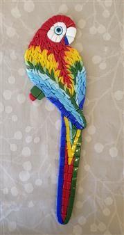 Papağan - El yapımı mozaik papağan