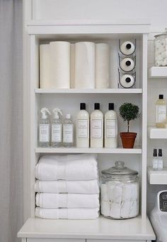 Who says wine holders are just for wining and dining? The Laundress uses the stackable Fridge Binz Wine Holder to efficiently and vertically hold extra bottles of The Laundress Signature Detergent! Linen Closet Organization, Home Organisation, Laundry Room Organization, Laundry Storage, Bathroom Storage, Organization Ideas, Hanging Cabinet, Laundry Room Design, House Design