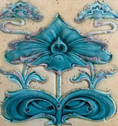 One color over high dimensional design. Crackle clear overall. Azulejos Art Nouveau, Art Nouveau Tiles, Eye Pattern, Artistic Tile, Art Tiles, Vintage Tile, Art N Craft, Decorative Tile, Art Of Living