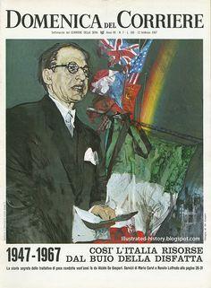 Domenica del Corriere - 12 Febbraio 1967 - La storia segreta delle trattative di pace condotte vent'anni fa da Alcide De Gasperi. #TuscanyAgriturismoGiratola