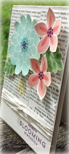 Stampin Up! Flower Patch, Flower Fair, Typset DSP. Pool Party + Bermuda Bay, Crisp Cantaloupe + Calypso Coral, Wild Wasabi + Garden Green, Daffodil Delight, Blackberry Bliss. Laura Winemiller Mid-MO Stamping.