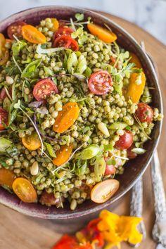 Sorghum Salad with Kale Pesto  // Healthy Salad Spins