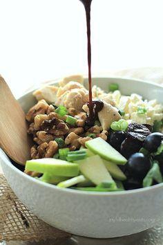 Chicken Feta Walnut Grape Salad with Honey Balsamic Vinaigrette | www.joyfulhealthyeats.com #glutenfree #paleofriendly