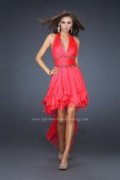 Watermelon High Low Sexy Halter Neckline Evening Dresses La Femme 16986