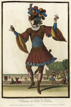 Recueil des modes de la cour de France, 'Homme en Habit de Ballet' Jacques Lepautre (France, Paris, 1653-1684) Jean Lepautre (France, Paris, 1618-1682) France, Paris, circa 1682 Prints Hand-colored engraving on paper Sheet: 14 3/8 x 9 3/8 in. (36.51 x 23.81 cm); Composition: 11 7/8 x 7 3/4 in. (30.16 x 19.69 cm)  LACMA Collections