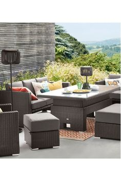 Next Monaco Living And Dining Table Garden Set - Dark Grey Outdoor Furniture, Garden Diy On A Budget, Rattan Corner Sofa, Patio Set, Furniture, Terrace Furniture, Garden Furniture, Patio Furniture, Outdoor Furniture Sets