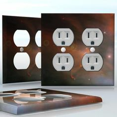 DIY Do It Yourself Home Decor - Easy to apply wall plate wraps | Around the Orion  Yellow and blue clouds in space  wallplate skin sticker for 2 Gang Wall Socket Duplex Receptacle | On SALE now only $4.95
