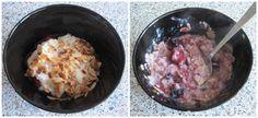 Havermout ontbijt Ingrediënten: 50 gram havermout (glutenvrij) 125 ml melk. Handje diepvries zomerfruit  Handje geroosterde amandelschaafsel en honing.