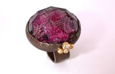 Ring - silver and gold with eudialyte/ rock crystal doublet and br. diamonds © Maria Frantzi