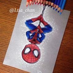 My chibi Spiderman, the first marvel's hero of a long serie for my sweet heart Cute Disney Drawings, Kawaii Drawings, Colorful Drawings, Cartoon Drawings, Easy Drawings, Chibi Spiderman, Spiderman Marvel, Geometric Lion Tattoo, Disney Doodles