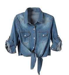 Omoone Womens Ripped Puff Sleeve Denim Crop Top Long-Sleeve Cropped Jean Jacket