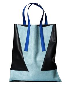 Navy Leather & Baby Blue Pony Tote | London Edit | Wolf & Badger