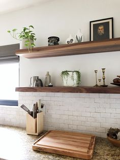 floating shelves Just like our countertops, our heavy duty wall shelves are built to last a lifetime. A heavy duty floating shelf bracket is included with every purchase. Heavy Duty Floating Shelves, Floating Shelf Brackets, Floating Shelves Kitchen, Custom Floating Shelves, Diy Bracket Shelves, Open Shelving In Kitchen, How To Make Floating Shelves, Diy Kitchen Shelves, Laundry Shelves
