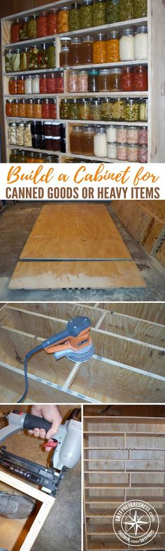 How To Build A Cabinet For Storing Canned Goods or Heavy Items — This tutorial has pictures to help you build your own and does a great job of explaining exactly how to make this awesome cabinet. Pallet Projects, Home Projects, Canned Food Storage, Palette, Do It Yourself Projects, Home Organization, Organizing, Sustainable Living, Wood Crafts