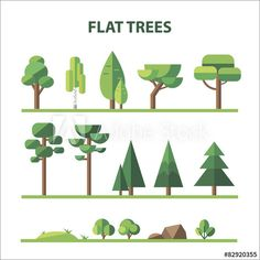Set of tree, rocks in flat design Graphic Design Tips, Web Design, Graphic Design Inspiration, Vector Design, Game Design, Vector Art, Layout Design, Flat Design Illustration, Forest Illustration