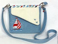 """Купить Голубая морская сумка с вышивкой """"Кораблик"""" - голубой, в полоску, сумка женская, Машинная вышивка"""