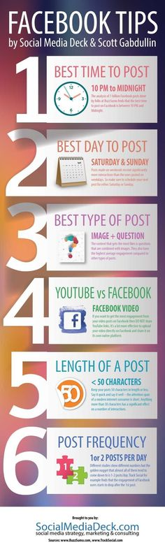 What Is The Best Time to Publish Content? What Is The Best Day? Discover 6 Facebook tips in this Infographic to help you boost your social media marketing!