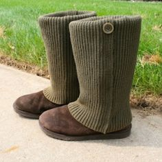 Easily refashion stained, salt covered winter boots into sweater boots! No sew!