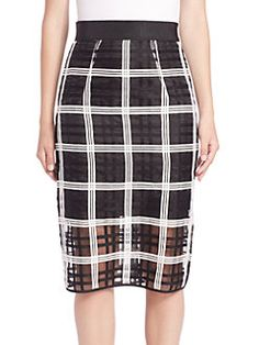 MILLY - Check-Print Midi Skirt