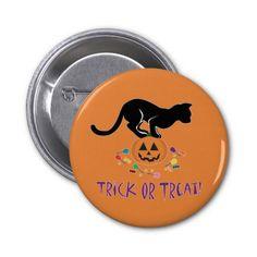 Trick or Treat Black Cat Button #cats #halloween #pumpkin #candy #food