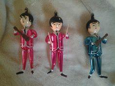 Vintage Italian 1964 Beatles Blown Glass Christmas Ornaments John, Paul