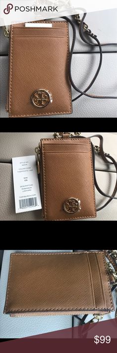 """NWT TORY BURCH  ID/CREDIT CARD HOLDER Detailed with a zippered coin pouch and a detachable strap, it stores swipe cards, transit passes and IDs — perfect for commuting, meetings and swapping out bags.Box Not included.  Zipper closure 4 credit card slots, 1 zipper pocket Removable neck strap Strap can be removed in order to carry card portion separately Length: 2.79"""" (7.0 cm) Height: 3.98"""" (10.0 cm) Neck Strap Drop: 15.9"""" (40.0 cm) Style 36909 Original Price $115 Tory Burch Bags Clutches…"""