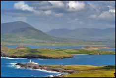 Valentia Island Lighthouse and Beginis Island in the background  Ireland
