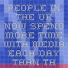 People in the UK now spend more time with media each day than they do sleeping.  That's according to an annual study from the British communications regulator Ofcom, which found that UK adults spend an average of 8 hours, 41 minutes per day with media, compared to 8 hours, 21 minutes sleeping.