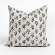 This indigo block print pillow is beautiful in its graphic simplicity. Combined with a woven flax-toned background, the floral motif and classic colour combination offer a casual elegance and old-world charm. Old World Charm, Casual Elegance, Floral Motif, Pillow Inserts, Color Combinations, Indigo, Bed Pillows, Blue And White, Classic