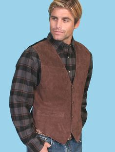 "Mens Boar suede ""Expresso"" Western vest by Scully with dark plaid shirt"