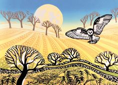 Moon Flight Of The Barn Owl Art Card Rob Barnes Linocut - A great range from Calliope Gifts in our selections of gifts, homewares, toys and books. Classroom Art Projects, Owl Art, Bird Art, Naive Art, Wildlife Art, Print Artist, Illustration Art, Illustrations, Lovers Art