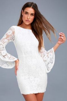 f194cfe22c7a Allure  Em In White Lace Bell Sleeve Bodycon Dress 5