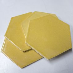 handmade Large Format Honeycomb tiles in yellow/brown from Mercury Mosaics