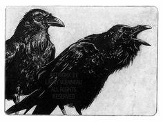 Award Winning Print AWAITING ALEXANDER Raven bird by RAVENSTAMPS, $45.00