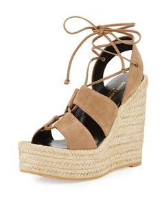 Suede+95mm+Espadrille+Wedge+Sandal,+Taupe+by+Saint+Laurent+at+Bergdorf+Goodman.