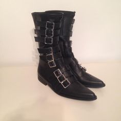 Gothic 9 buckle boots in various colours and materials. Available in sizes 4-13 www.thegothicshoecompany.com