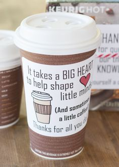 Coffee is an easy teacher appreciation gift that is appreciated by the whole school. Grab a few bags or boxes of coffee then stick-on these adorable labels. Presto… the gift of coffee!