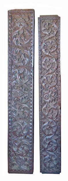 Pair of Sumatran Lintels, jackfruit