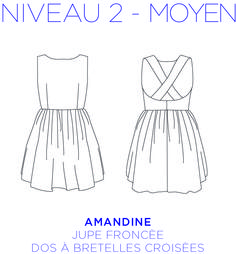 Patron - Dress Amandine, crossed back, gathered skirt, full-size pattern from 34 to 46 Sewing Tutorials, Sewing Patterns, Make Your Own Clothes, Creation Couture, Couture Sewing, Gathered Skirt, Diy Clothing, Pattern Making, Dressmaking