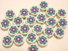 20 Fimo Polymer Clay Round Flat Beads Colorful   Purple Green  Flowers  10mm. $3.99, via Etsy.