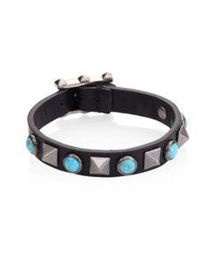 Valentino - Rolling Rockstud Leather Bracelet