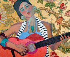 La Guitarista by Kathy Sosa Tree Of Life Art, Abstract Portrait, Traditional Paintings, Figure Painting, Art Music, Art Techniques, Figurative Art, Pattern Art, Painting Inspiration