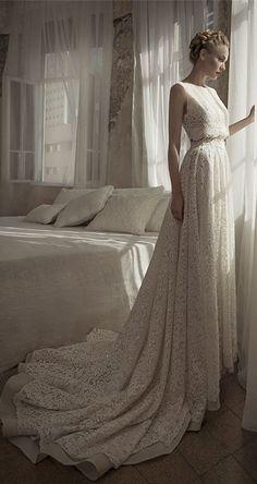 Wedding dress vintage, wedding dress lace two pieces.