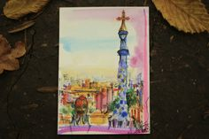 A moment of park Guell Barcelona  watercolour by Cecileart on Etsy